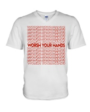 Worsh Your Hands V-Neck T-Shirt thumbnail