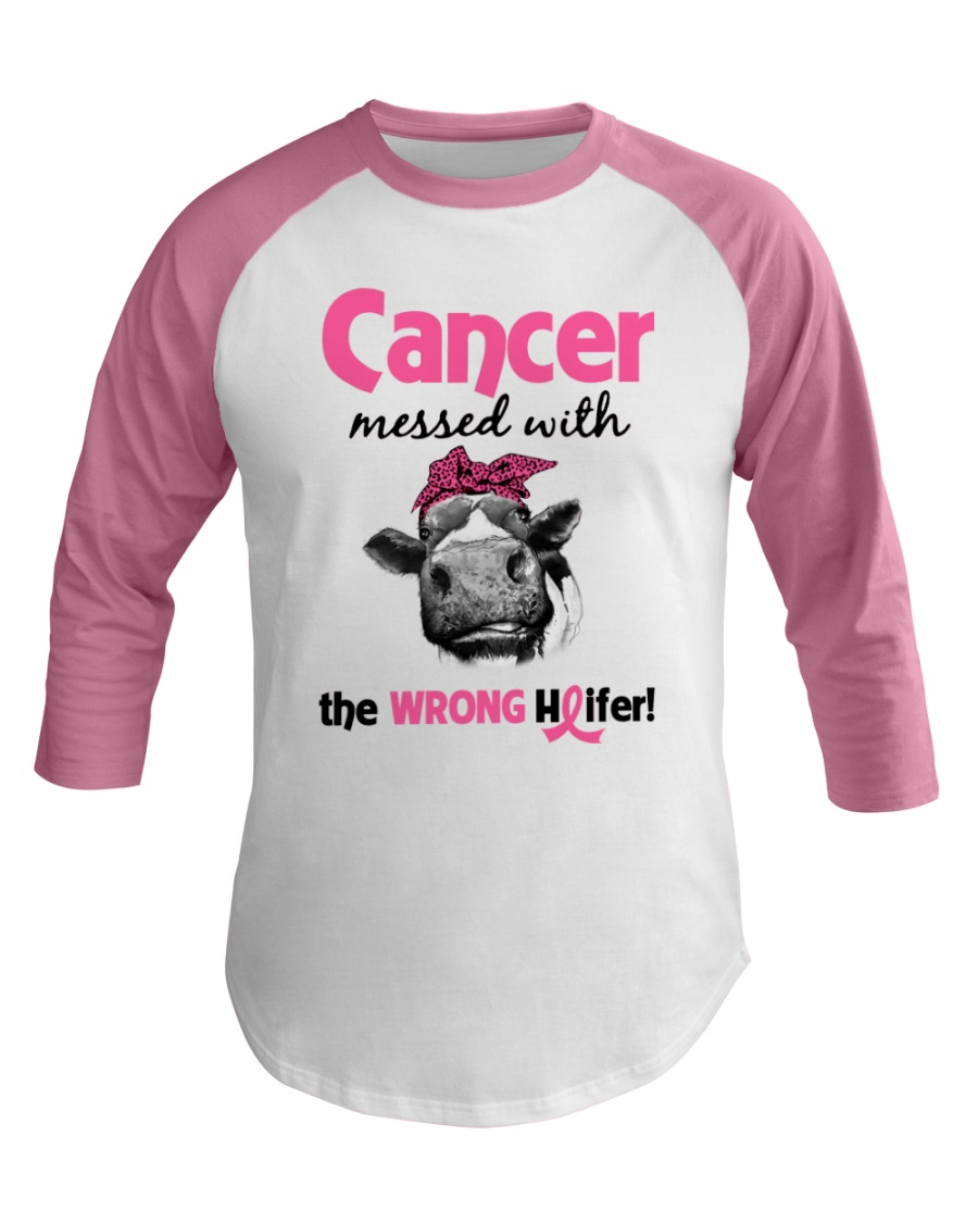 Cancer Messed With Wrong Heifer Baseball Tee