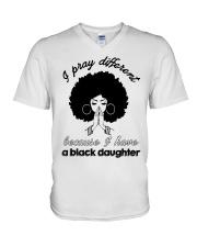 I Have A Black Daughter V-Neck T-Shirt tile