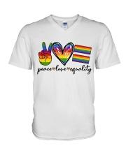 Peace Love Equality V-Neck T-Shirt thumbnail