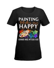 Painting makes me happy Ladies T-Shirt women-premium-crewneck-shirt-front