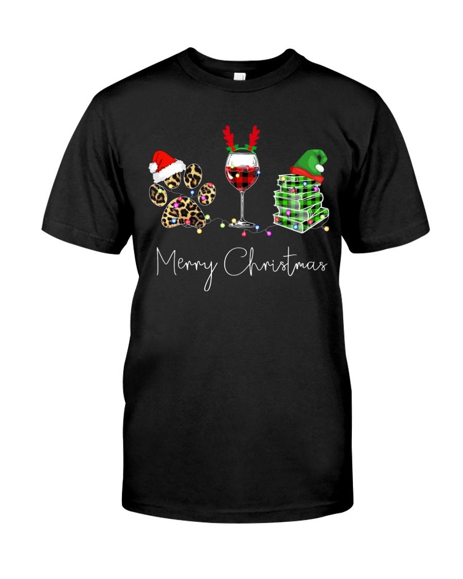 Merry Christmas Dog Wine Books Classic T-Shirt