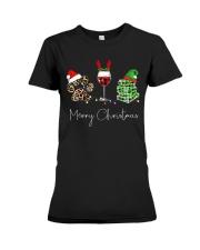 Merry Christmas Dog Wine Books Premium Fit Ladies Tee thumbnail