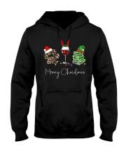 Merry Christmas Dog Wine Books Hooded Sweatshirt thumbnail