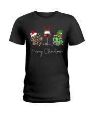 Merry Christmas Dog Wine Books Ladies T-Shirt thumbnail