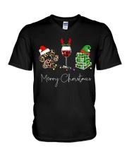Merry Christmas Dog Wine Books V-Neck T-Shirt thumbnail