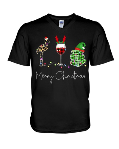 Merry Christmas Flamingo Wine Books
