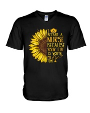 I became a Nurse because your life is worth my tim V-Neck T-Shirt thumbnail