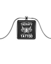 I JUST NEED A NEW TATTOO Metallic Rectangle Necklace thumbnail