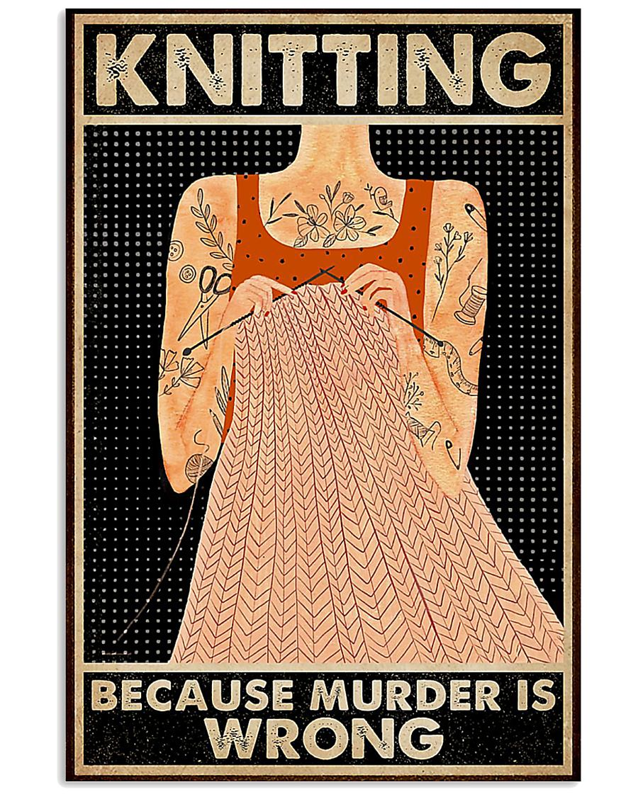 Tattoo knitting because murder is wrong poster 11x17 Poster