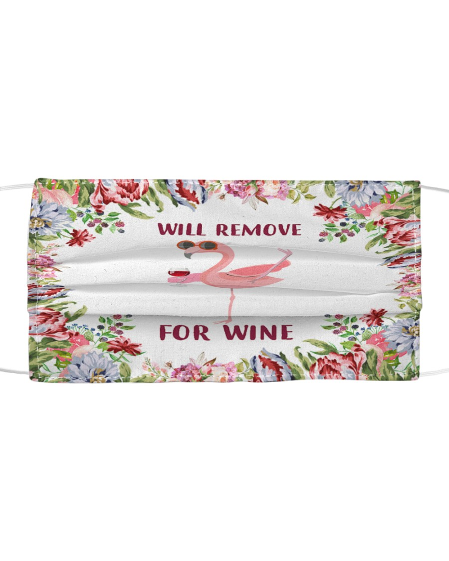 Floral flamingo will remove for wine face mask Cloth face mask