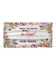 Floral flamingo will remove for wine face mask Cloth face mask front
