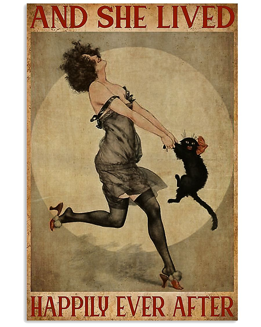 Black cat and she lived happily ever after poster 11x17 Poster
