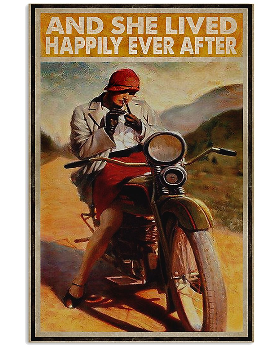 Biker and she lived happily ever after poster 11x17 Poster