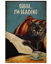 Black cat shhh I'm reading poster 11x17 Poster front