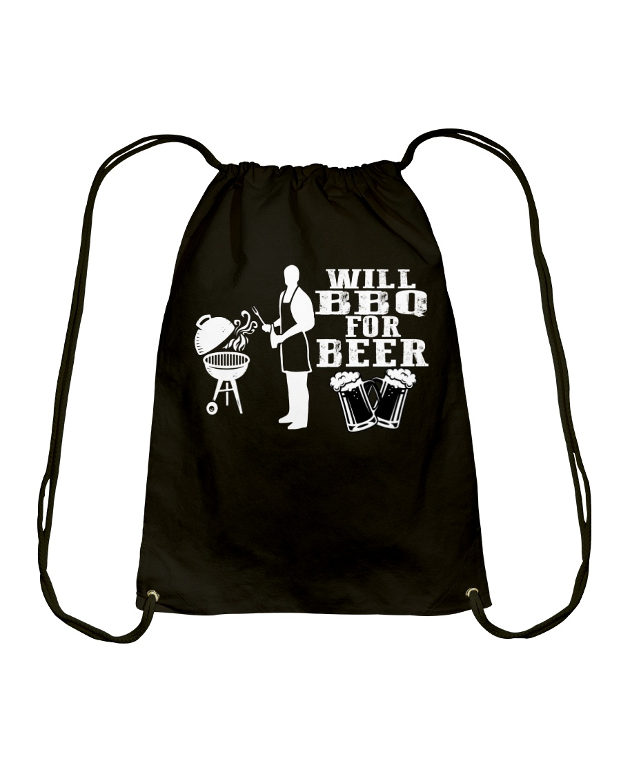 Will BBQ for Beer Drawstring Bag