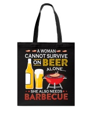 A Woman Cannot Survive on Beer Alone Tote Bag tile