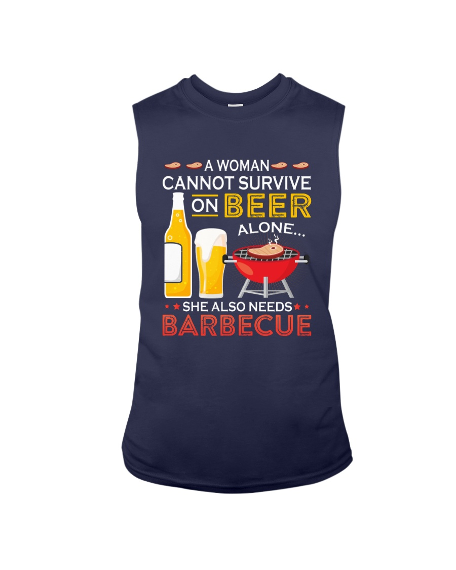A Woman Cannot Survive on Beer Alone Sleeveless Tee