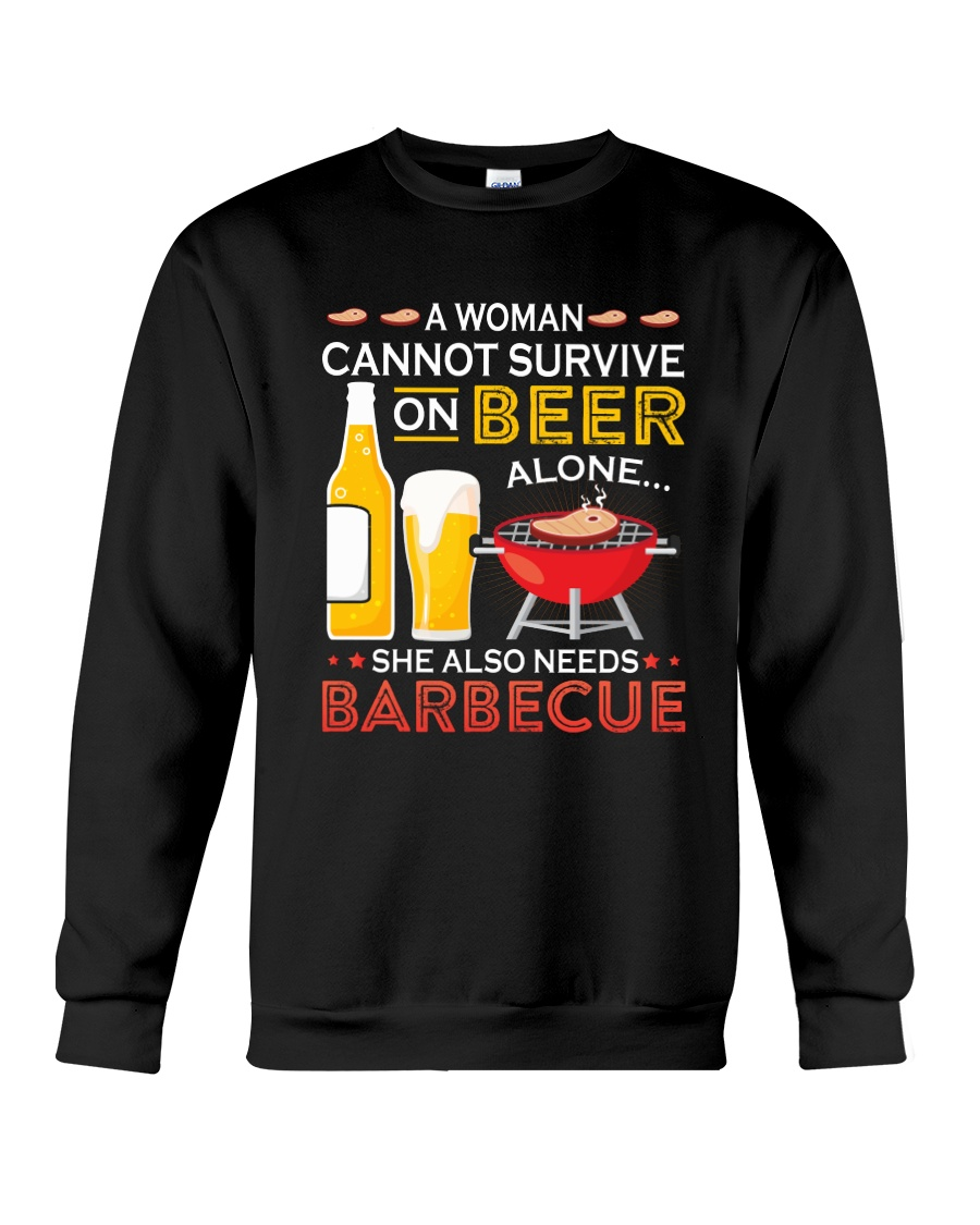 A Woman Cannot Survive on Beer Alone Crewneck Sweatshirt