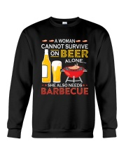 A Woman Cannot Survive on Beer Alone Crewneck Sweatshirt front