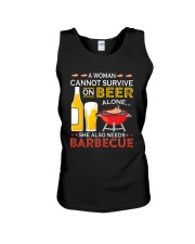 A Woman Cannot Survive on Beer Alone Unisex Tank tile