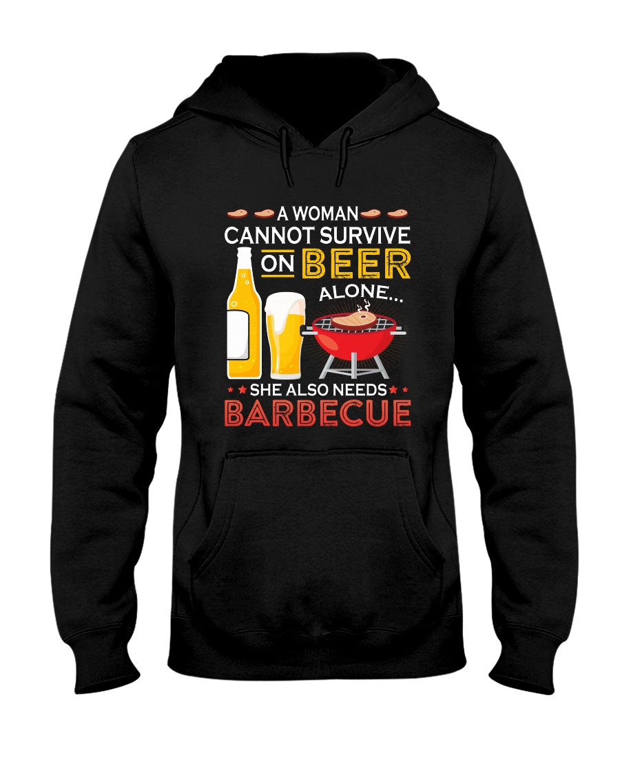 A Woman Cannot Survive on Beer Alone Hooded Sweatshirt