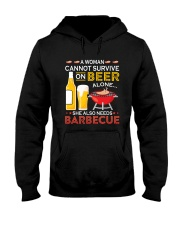 A Woman Cannot Survive on Beer Alone Hooded Sweatshirt thumbnail