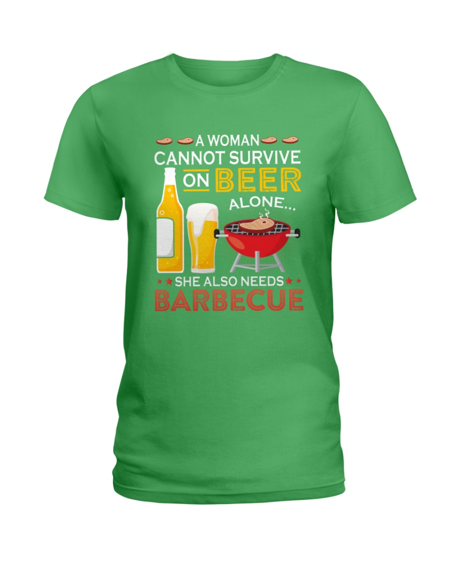 A Woman Cannot Survive on Beer Alone Ladies T-Shirt