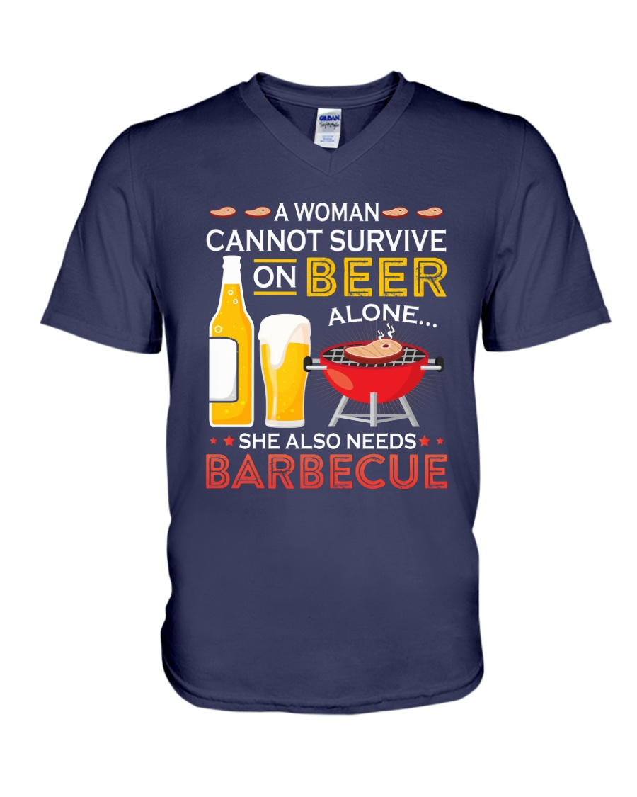 A Woman Cannot Survive on Beer Alone V-Neck T-Shirt