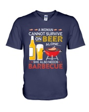 A Woman Cannot Survive on Beer Alone V-Neck T-Shirt front