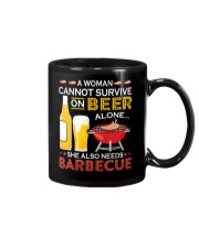 A Woman Cannot Survive on Beer Alone Mug tile