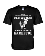 Never underestimate an old woman V-Neck T-Shirt thumbnail