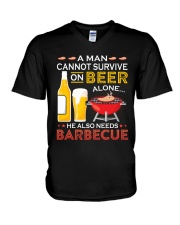 LOVE BURN FOOD BBQ GRILL 7 V-Neck T-Shirt thumbnail