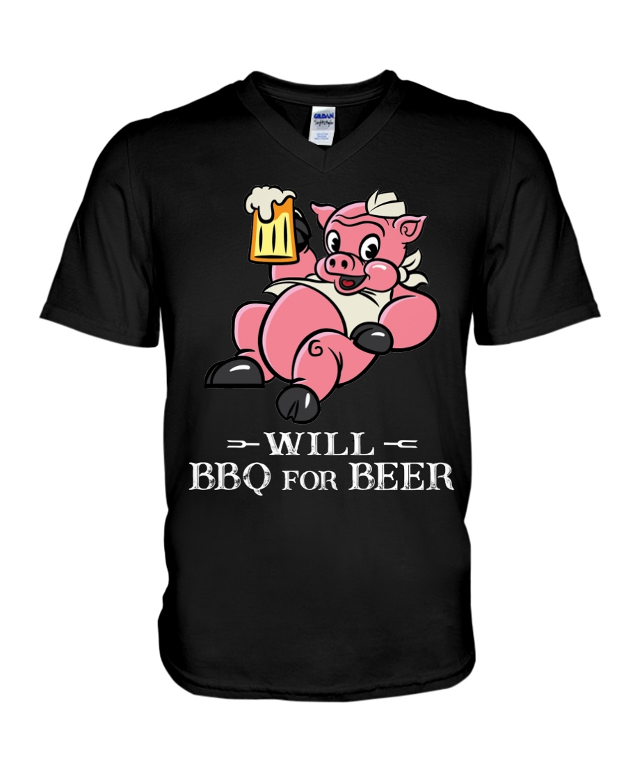 Will BBQ for BEER V-Neck T-Shirt