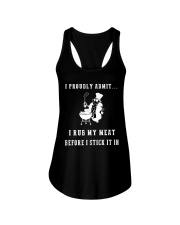 Rub my meat before I stick it in black edition Ladies Flowy Tank thumbnail