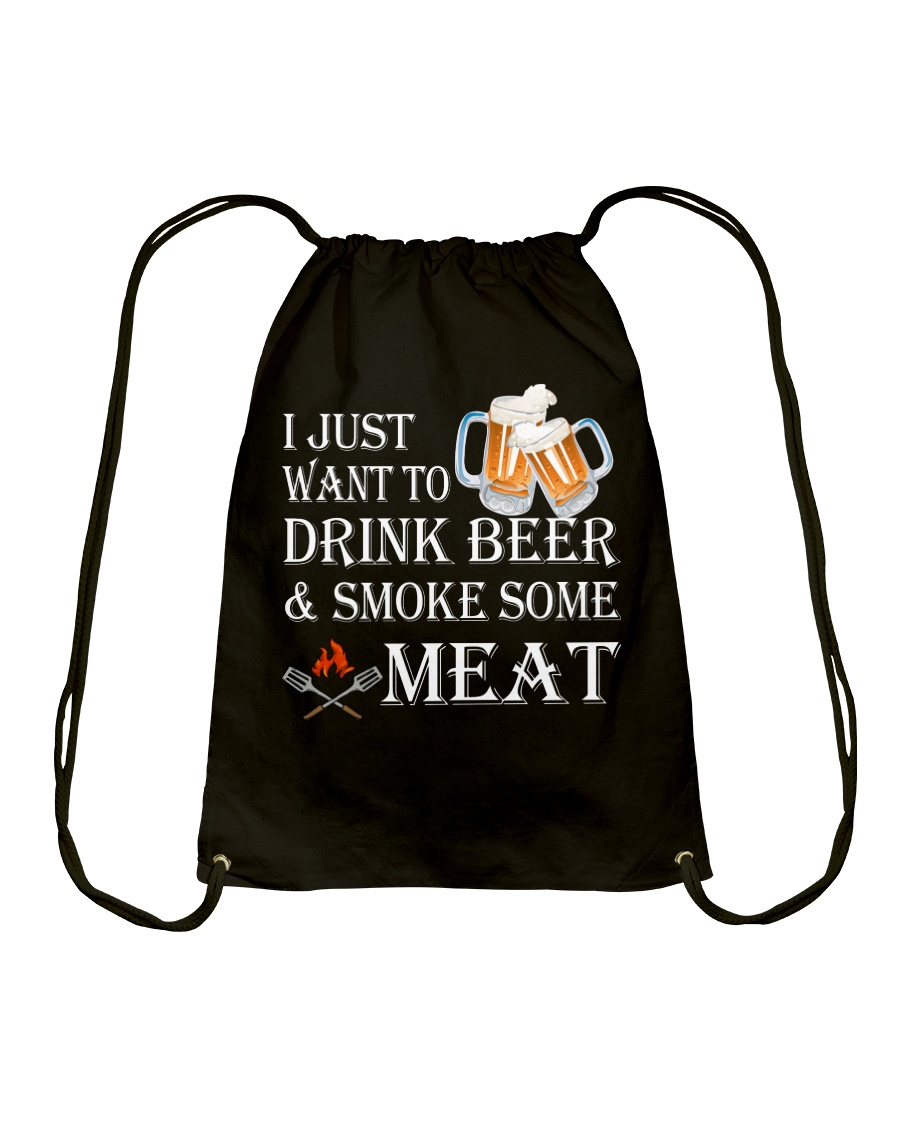 I just want to drink beer and smoke some meat Drawstring Bag showcase