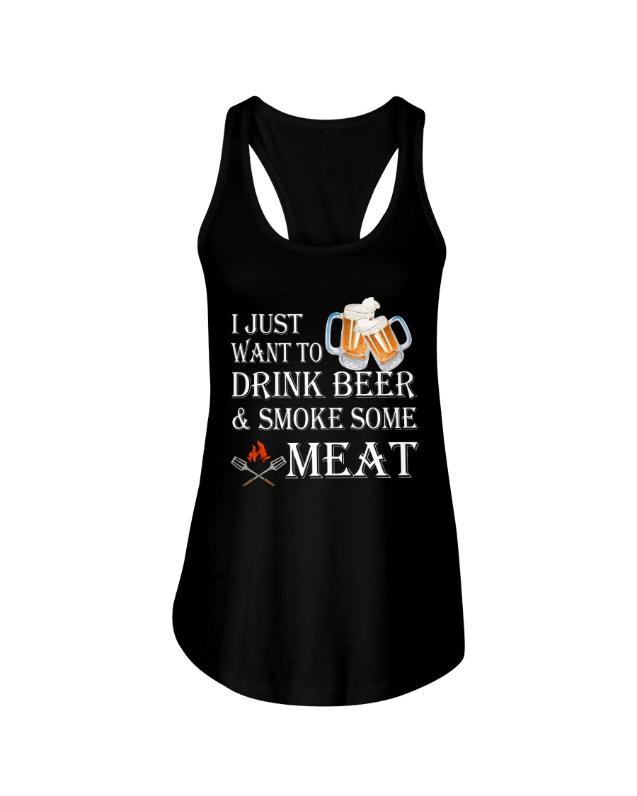 I just want to drink beer and smoke some meat Ladies Flowy Tank showcase