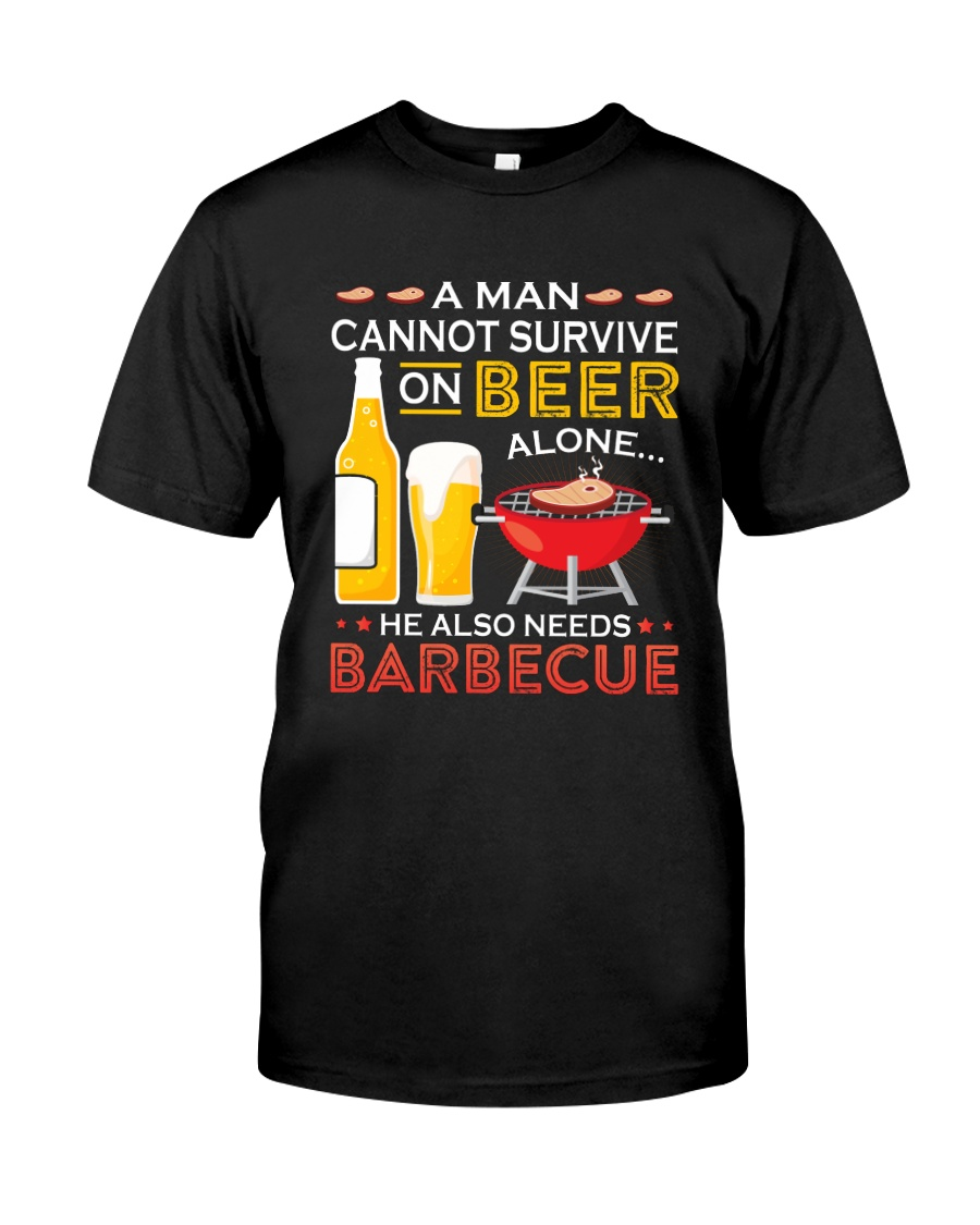 A Man Cannot Survive on Beer Alone Premium Fit Mens Tee
