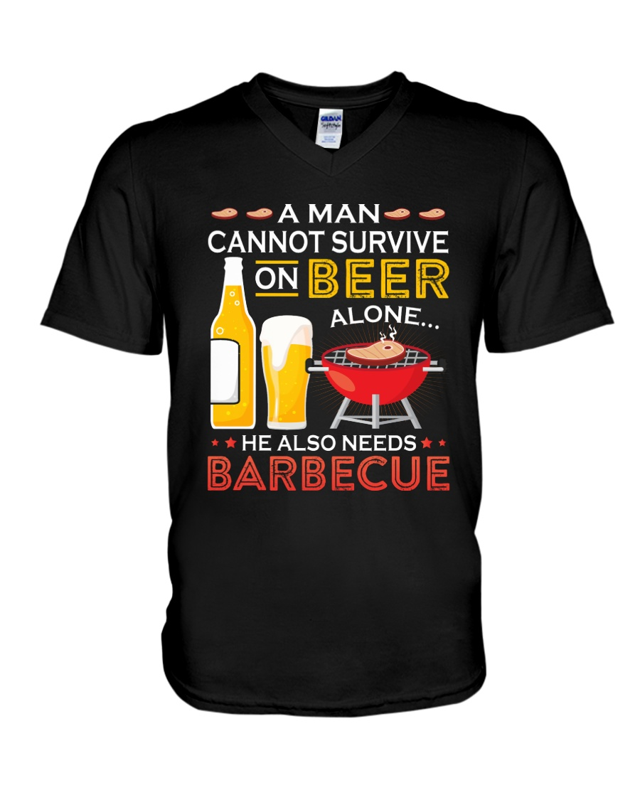 A Man Cannot Survive on Beer Alone V-Neck T-Shirt