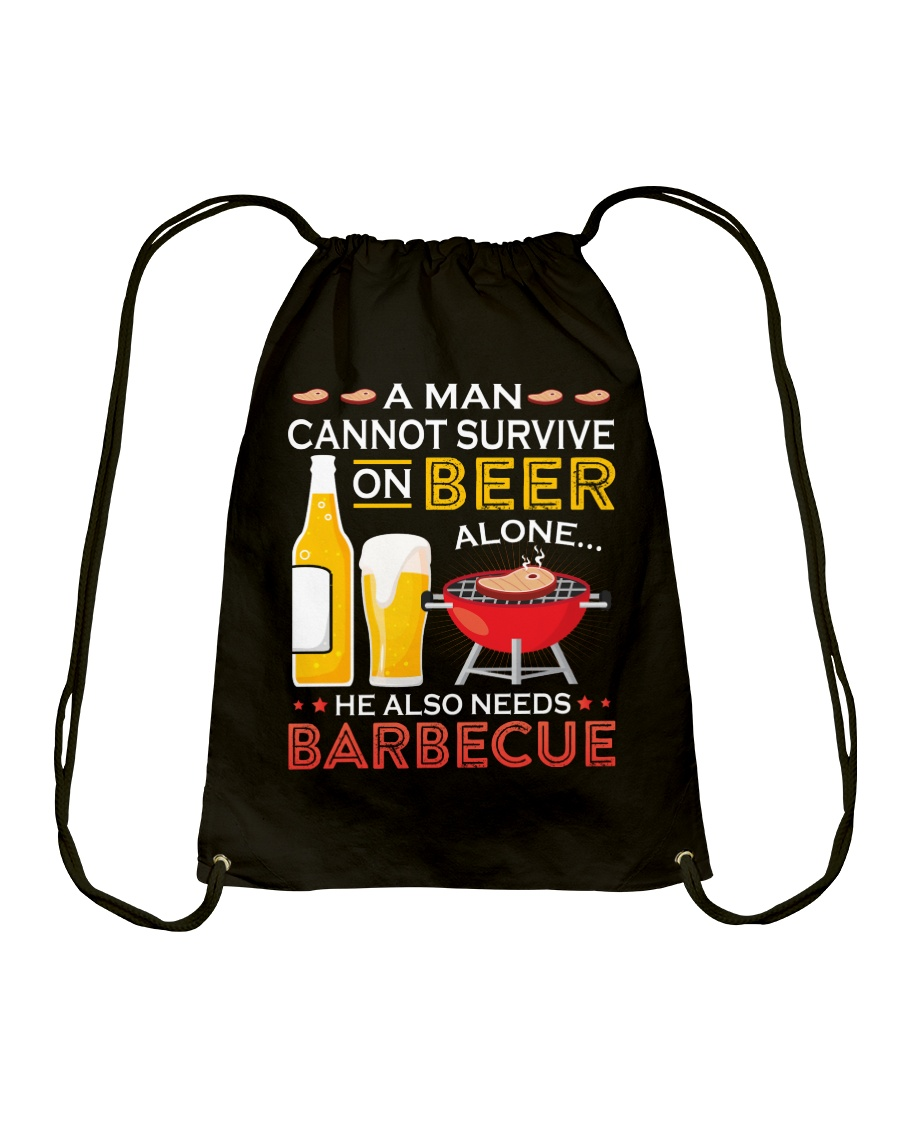 A Man Cannot Survive on Beer Alone Drawstring Bag
