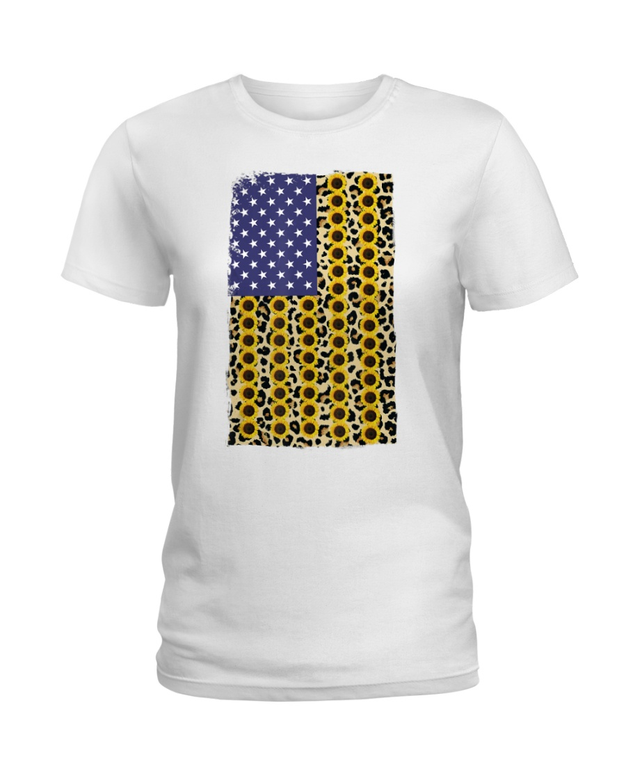 American Flag Leopard Sunflowe Ladies T-Shirt