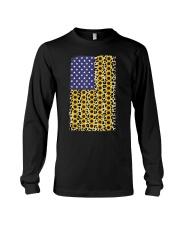 American Flag Leopard Sunflowe Long Sleeve Tee thumbnail