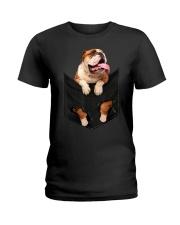 English Bulldog Pocket Ladies T-Shirt thumbnail