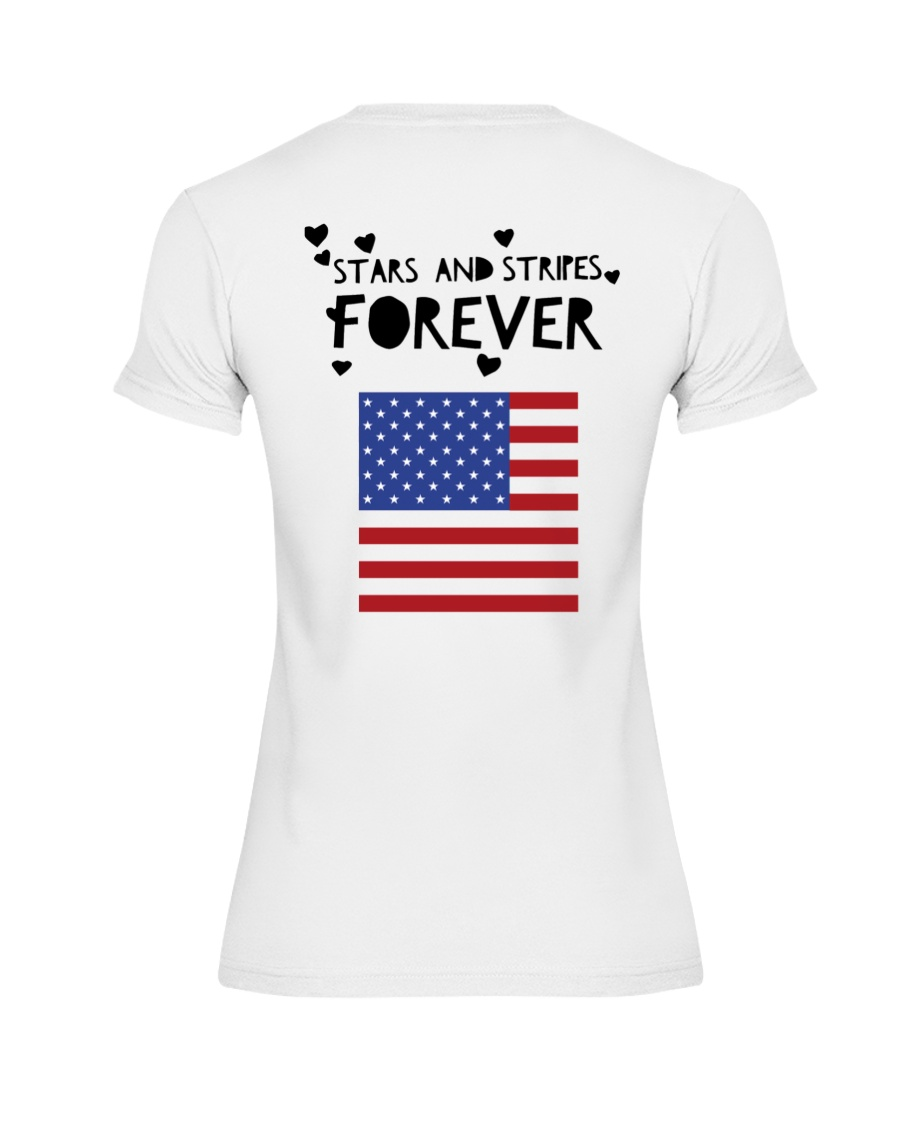 Stars and Stripes Forever - Design on Back Premium Fit Ladies Tee