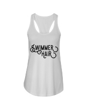 Swimmer Hair Don't Care - Front and Back Ladies Flowy Tank thumbnail