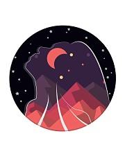 FreeWoman Art Work - black edition - Circle Coaster thumbnail