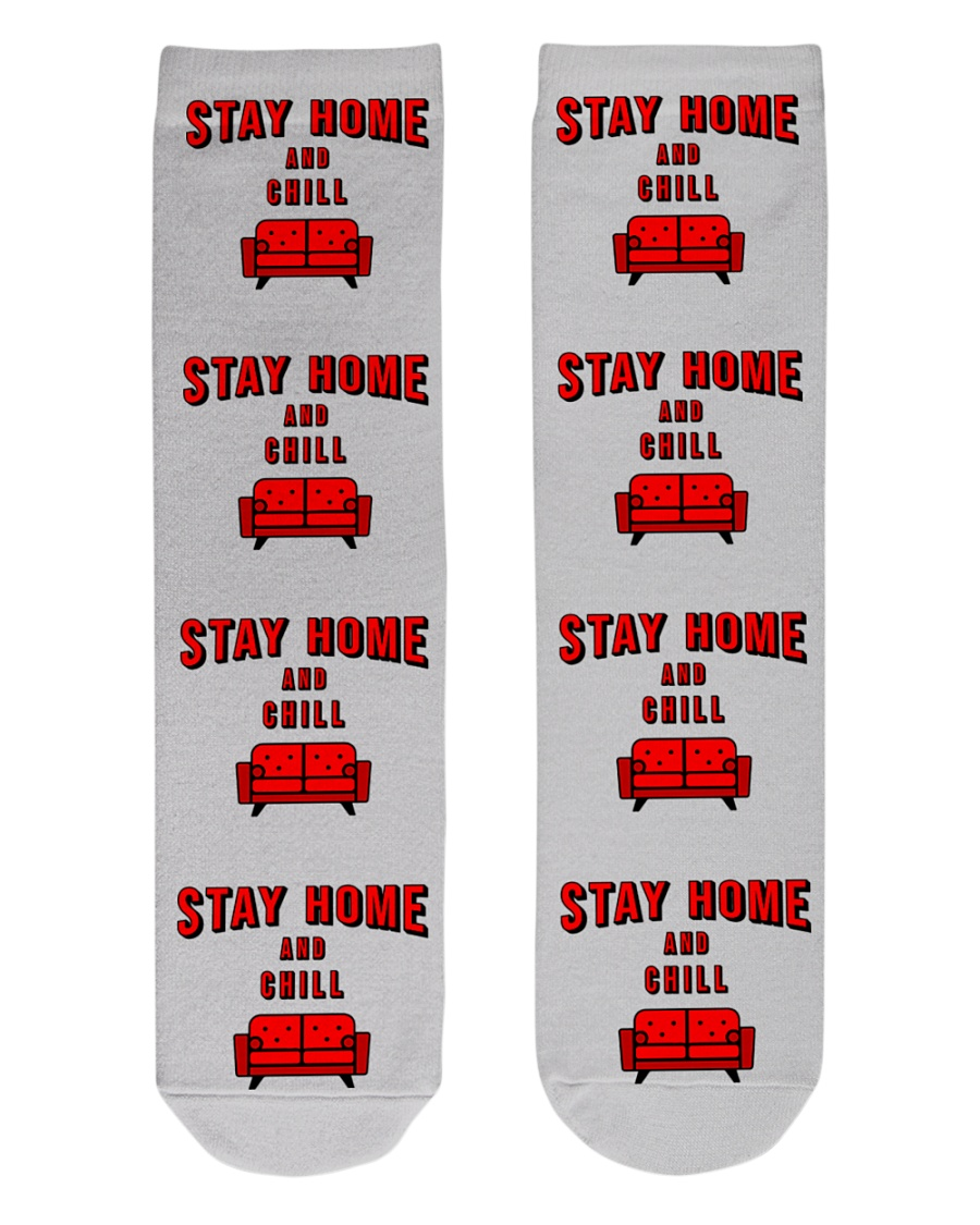 Stay Home and Chill Crew Length Socks