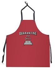 Quarantine and Chill - Red Version Apron thumbnail