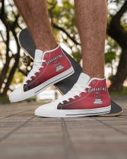 Quarantine and Chill - Red Version Men's High Top White Shoes aos-complex-men-white-high-top-shoes-lifestyle-inside-left-outside-left-01