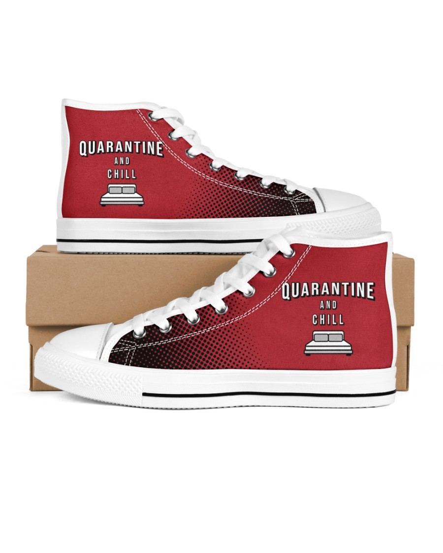 Quarantine and Chill - Red Version Men's High Top White Shoes